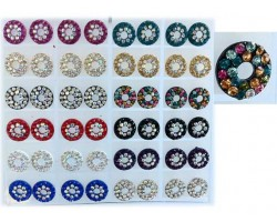 Assorted Crystal Round With Hole Center 24Pk Earring Card