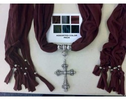 Dark Assorted Scarf Antique Silver Crystal Cross Pendant Necklace 6 Pack