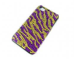 Purple & Gold Crystal Zebra Tiger iPhone 4 & 4S Case