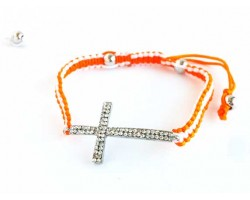 Clear Crystal Silver Cross Orange & White Braided Macramé Bracelet