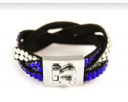 Blue Clear Crystal Braid Strap Bracelet With Silver Heart Clasp