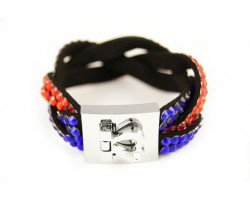 Blue Orange Crystal Braid Strap Bracelet With Silver Heart Clasp