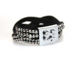 Hematite Crystal Braid Strap Bracelet With Silver Heart Clasp