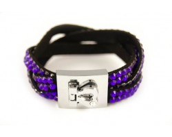 Tanzanite Crystal Braid Strap Bracelet With Silver Heart Clasp
