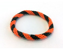 Orange Black Genuine Nepal Hand Crafted Roll On Mission Bracelets