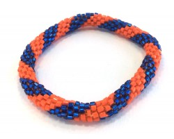 Orange & Blue Genuine Nepal Hand Crafted Roll On Mission Bracelets