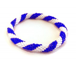 Blue & White Genuine Nepal Hand Crafted Roll On Mission Bracelets