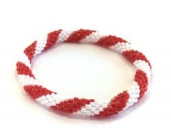 Red & White Genuine Nepal Hand Crafted Roll On Mission Bracelets