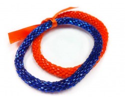 Blue & Orange Genuine Nepal Roll On Mission Bracelets