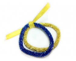 Blue & Yellow Genuine Nepal Roll On Mission Bracelets