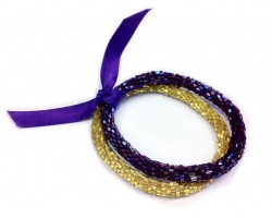 Purple & Yellow Genuine Nepal Roll On Mission Bracelets