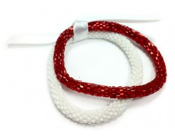 Red & White Genuine Nepal Roll On Mission Bracelets