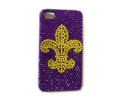 Purple Gold Fleur De Lis Cry iPhone 4 & 4S Cell Case