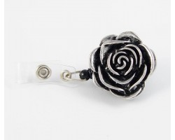 Rose Antique Silver Retractable Key Chain/ID Holder