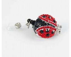 Crystal Ladybug Retractable Key Chain/ID Holder