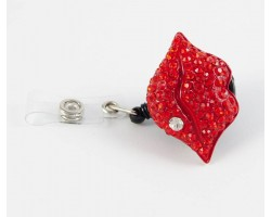 Red Lips Retractable Key Chain/ID Holder