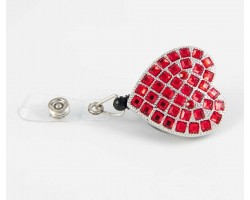 Red Crystal Heart Retractable Key Chain/ID Holder