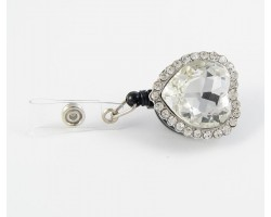 Crystal Heart Retractable Key Chain/ID Holder