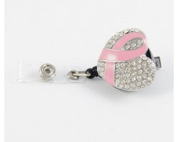 Pink Ribbon Heart Retractable Key Chain/ID Holder