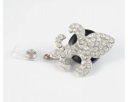 Crystal Fleur De Lis Retractable Key Chain/ID Holder