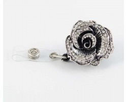 Crystal Silver Plate Rose Retractable Key Chain/ID Holder