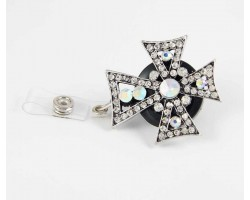 Crystal Pointed Cross Retractable Key Chain/ID Holder