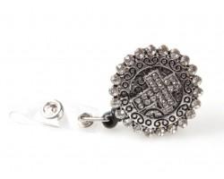 Crystal Cross Filigree Heart Retractable Key Chain Holder
