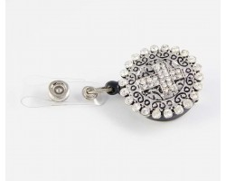 Crystal Square Cross with Filigree Heart Retractable Key Chain/ID Holder