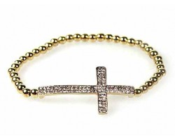 Double Row Cry Cross Gold Plate Bead Stretch Bracelet