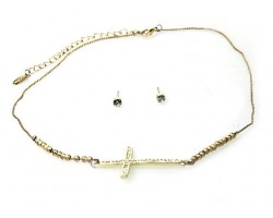 Gold Plate Cry Cross Stardust Bead Necklace Set