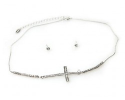 Rhodium Cry Cross Stardust Bead Necklace Set
