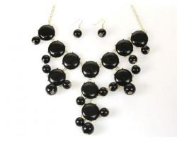 27mm Black Bubble Necklace Gold Plate Chain
