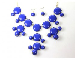 27mm Blue Bubble Necklace Gold Plate Chain