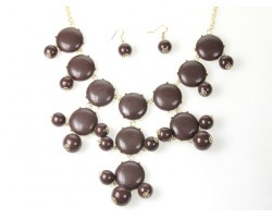 27mm Brown Bubble Necklace Gold Plate Chain