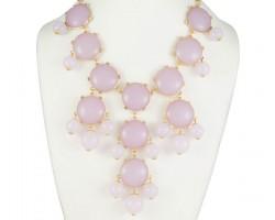 27mm Light Purple Bubble Necklace Gold Plate Chain