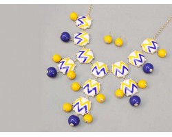 27mm Purple & Yellow Chevron Bubble Necklace Gold Plate Chain