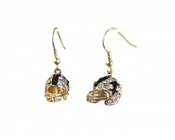 Black Gold Crystal Football Helmet Hook Earrings
