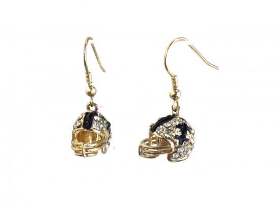 Black Gold Crystal Football Helmet Hook Earrings