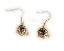 Gold Plate Crystal Saints Football Helmet Hook Earrings
