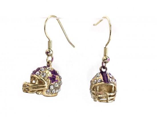 Purple Gold Crystal Football Helmet Hook Earrings
