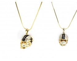 Black Gold Football Helmet Fleur De Lis Necklace