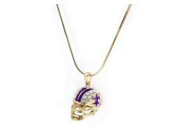 Purple Gold Football Helmet Fleur De Lis Necklace