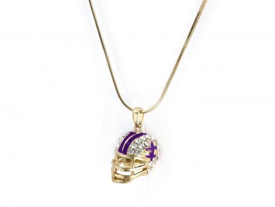 Purple Gold Football Helmet Fleur De Lis Necklace