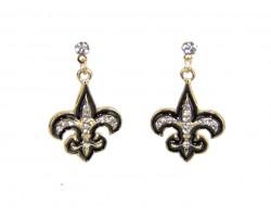 Black Gold Crystal Fleur De Lis Post Earrings