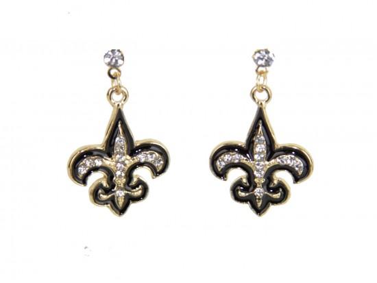 Black Gold Crystal Fleur De Lis Dangle Post Earrings