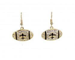 Black Gold Crystal Football  Hook Earrings