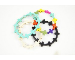 Assorted Dyed Stone Cross Stretch Bracelet 4pk