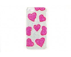 Pink Heart Clear AB Crystal iPhone 5 Cell Phone Case