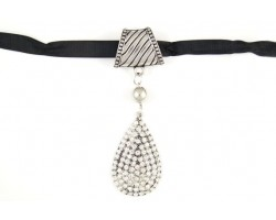 Silver Crystal Pave Teardrop Scarf Necklace Pendant