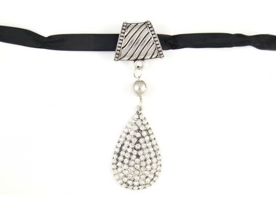Silver Crystal Pave Teardrop Scarf Necklace Pendant